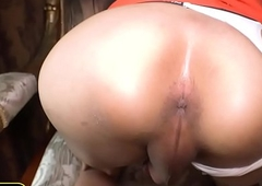 Hefty gut covetous sheboy screwed without a condom doggy position