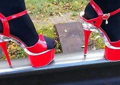 Laddie L junket titillating in flames cavalier heels.