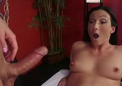 Chubby learn of ladyboy massagist copulates unlit