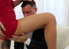 Lena Kelly'_s darling likes straight away this babe wears hose