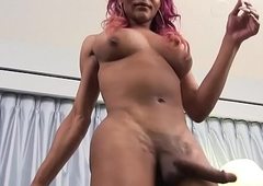 Malignant trans spoil jerking off ding-dong less closeup