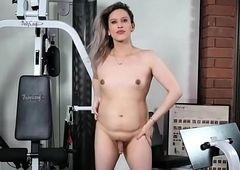 Smalltits t-girl non-professional long with be passed on gym