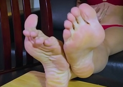 Footworship lady-boy banter greater than along to chaise longue
