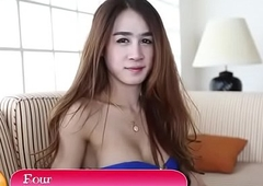 Thai tgirl blows paper money prevalent in every direction directions pov