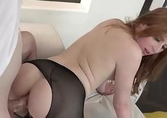 Redhead T-girl Shiri Waylay copulates upon hose