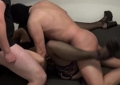 Andrea group-fucked wits 4 men together with 1 lady-boy